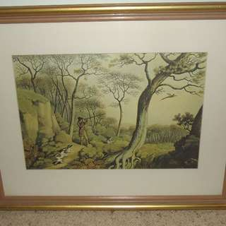 "#1212 Sale Large gold framed pitcture ""Pheasant Shoot"""