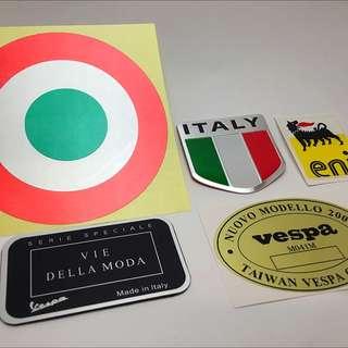 Vespa 偉士牌義大利貼紙套組。加油指示環