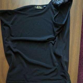 Embellished One Shoulder Black Tank ❤ $2 O.B.O