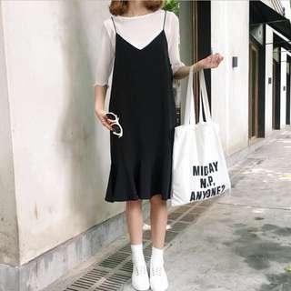 Korean Strappy Midi Dress