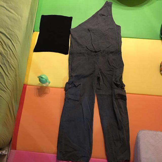 洗舊復古單邊吊帶工作褲