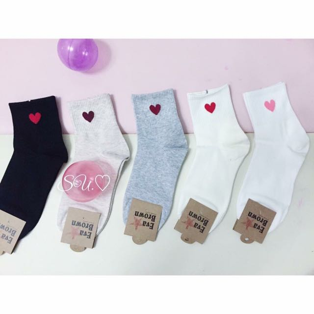 韓國棉質愛心中長襪