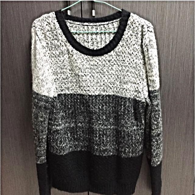 黑白漸層保暖針織毛衣