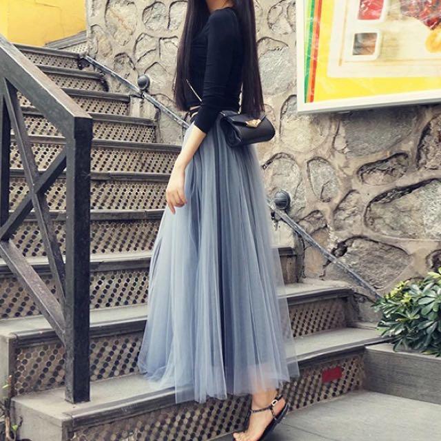 女神灰高腰顯瘦紗裙 蓬蓬裙超美,長度95公分 我自己穿到遮腳踝的長度