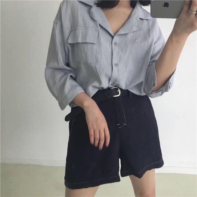 高腰直筒 雪紡彈性短褲