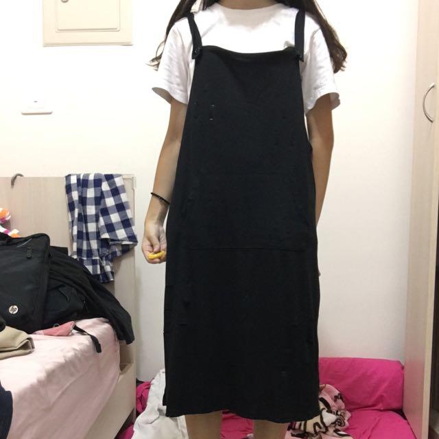 黑色吊帶裙 棉質