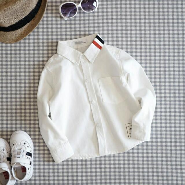 預購🎉秋冬 韓版 男童純棉加絨長袖白色襯衫