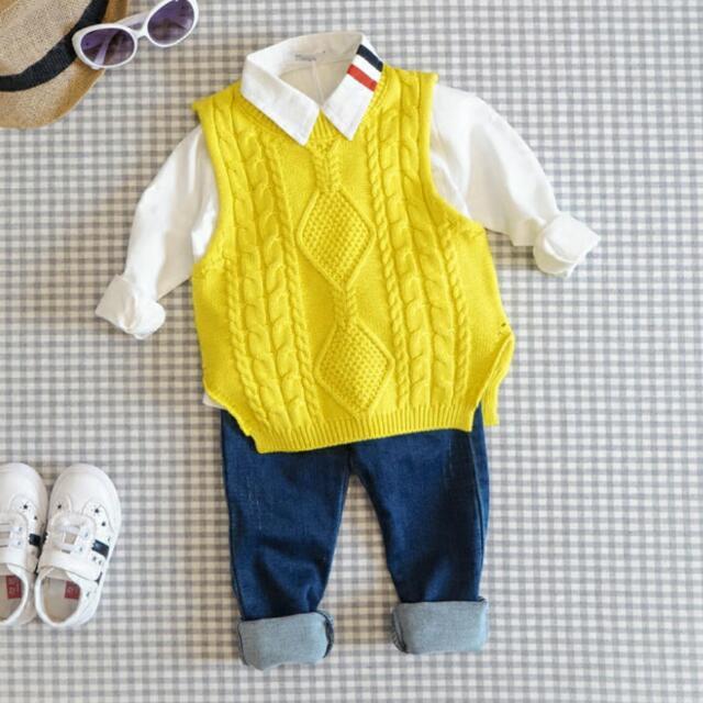 預購🎉春秋 男童 女童 純棉毛線針織背心。3色。(灰,黃,深藍)