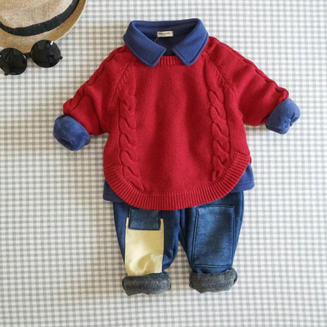 預購🎉秋冬 韓版 男童 女童 麻花套頭圓領針織毛衣。3色(紅,薑黃,深藍)
