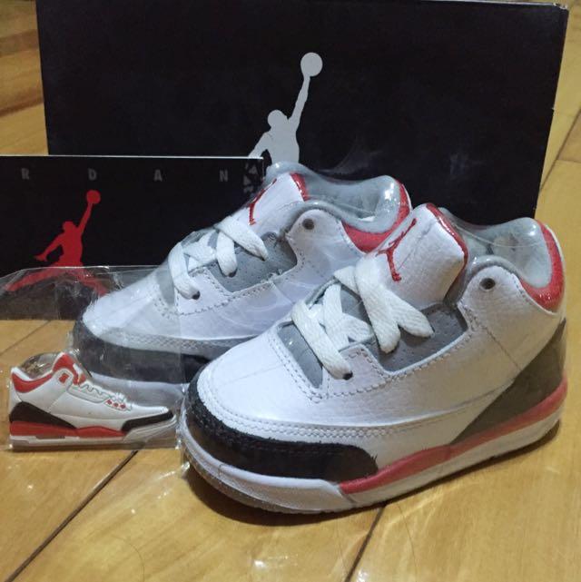 Air Jordan3 Fire Red紅白黑爆裂紋小童鞋