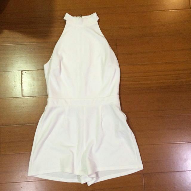 Asos new look 都會輕熟女 全新 白色削肩連身褲