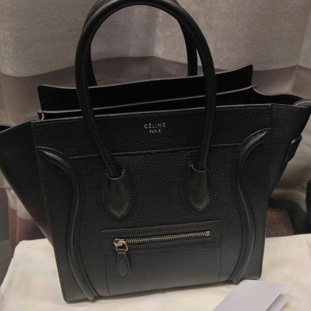 Auth Celine Micro Luggage Black