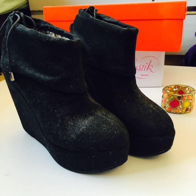 Black Suede Boot Wedges