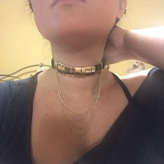 Black Velvet And Gold Choker