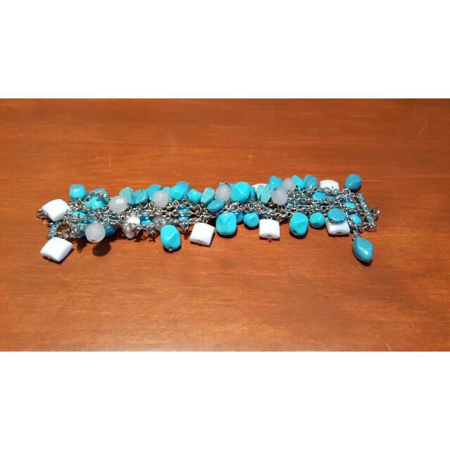 Blue And White Bead Bracelet