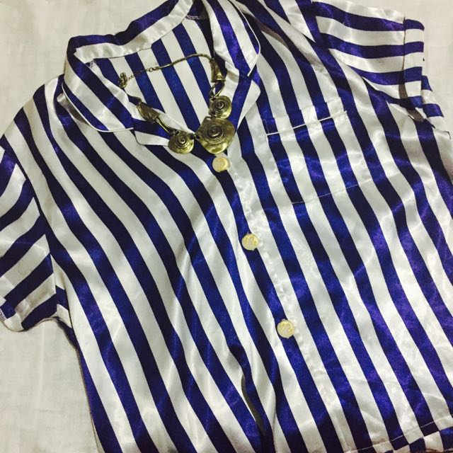 Blue And White Stripes Top