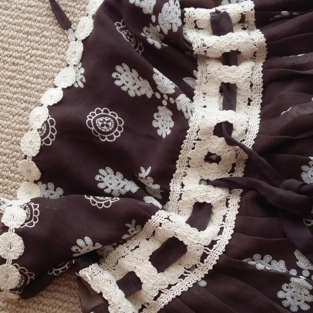 Brown Floral White Chiffon Boho Bohemian Mori Girl Style Dress