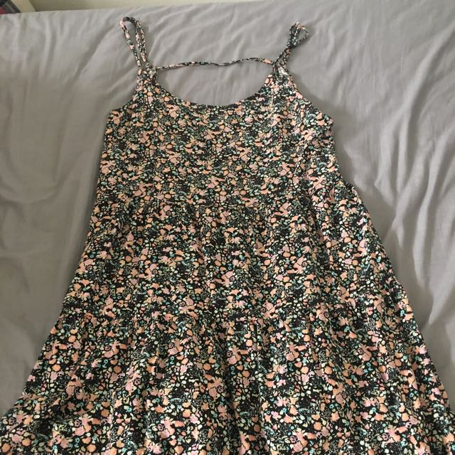 Cute Floral Open Back Dress