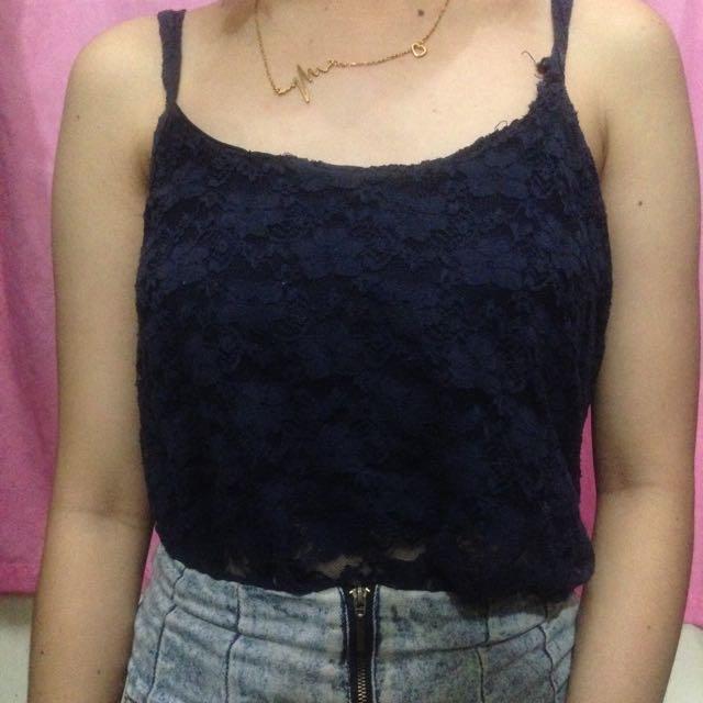 Dark Blue Lace Sleeveless
