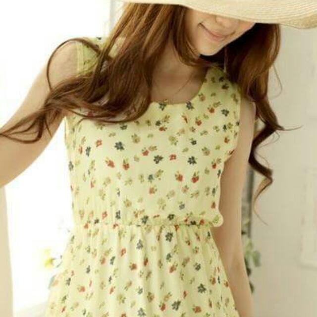 Dress Floral Brukat Impor