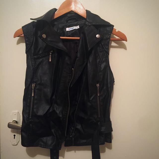 Faux Leather Vest Jacket