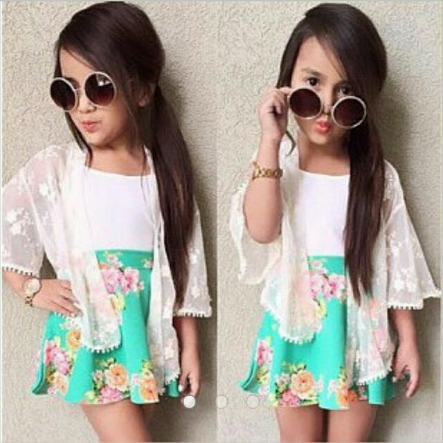Flower Dress With Lace Cardi