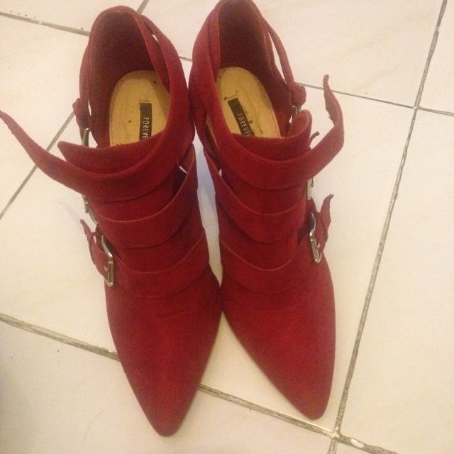 Forever 21 Ankle Boots Red