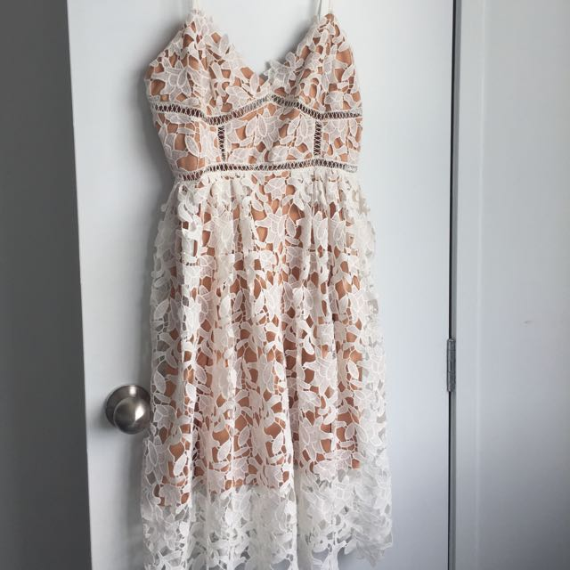 Lace White Midi Dress