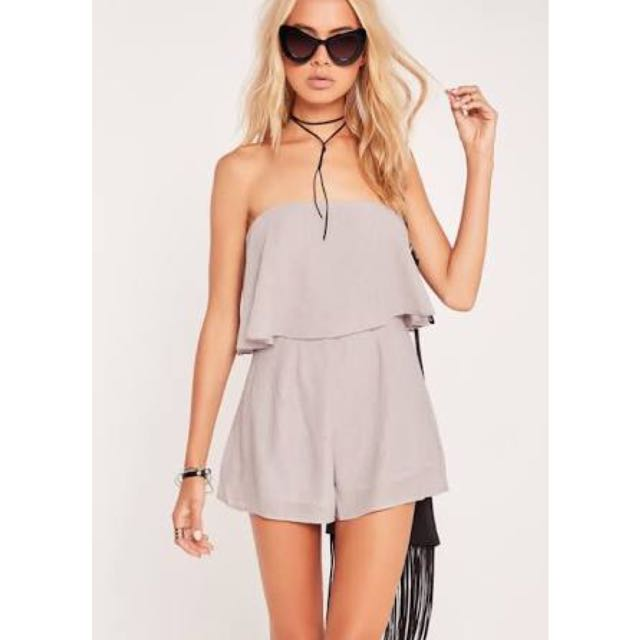 MISSGUIDED Grey Playsuit