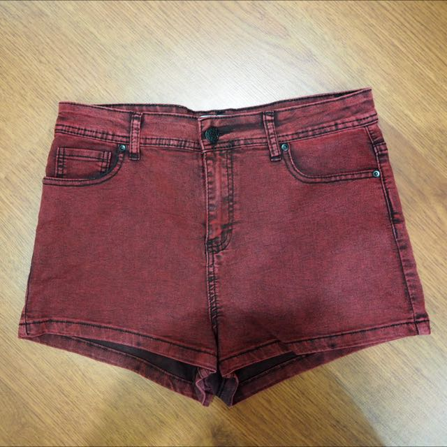 Red Jeans Short