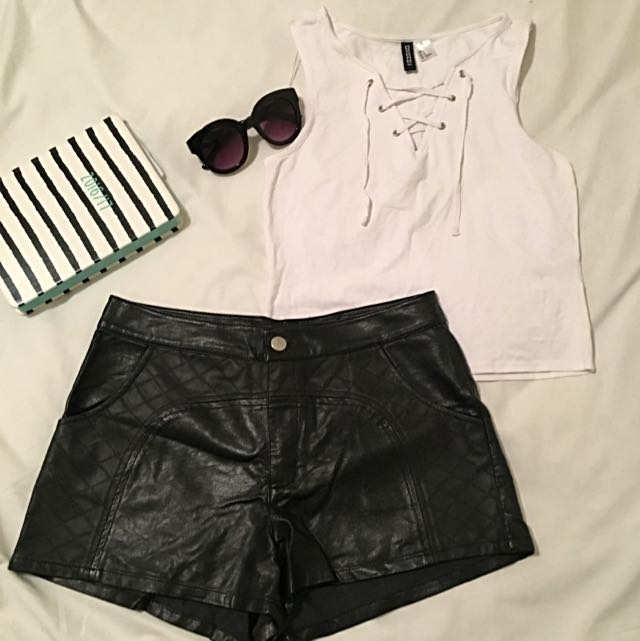 Top And Leather shorts