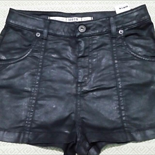 Topshop leatherette shorts