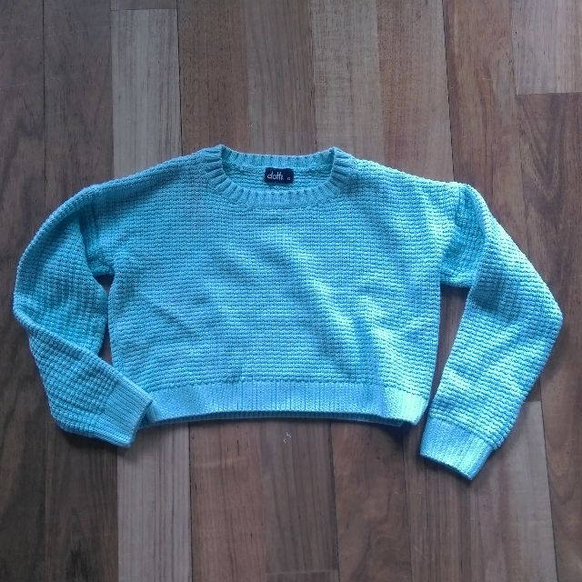 XS Baby Blue Crop Sweater