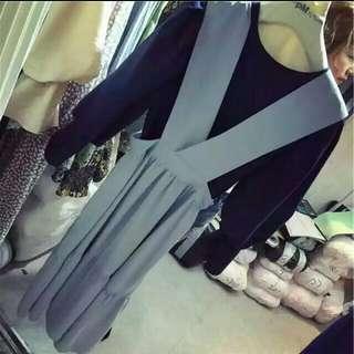韓 愛麗絲灰藍吊帶裙