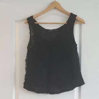 Black Lace Flowy Tank