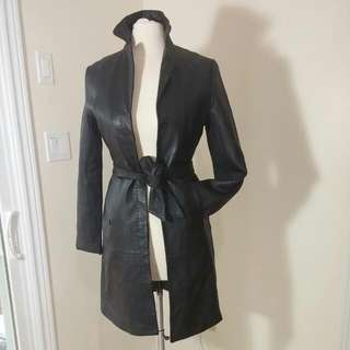 Leather Trench Coat Size Xs . By Castro (Israel)