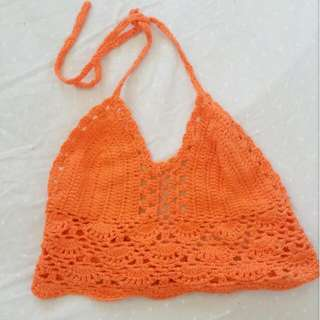 Orange Crochet Top NEVER WORN