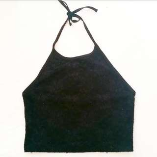 Forever 21 Black Lace Halter Crop