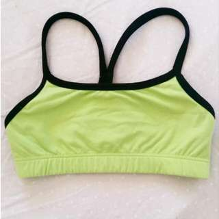 Green & Black Sports Bra