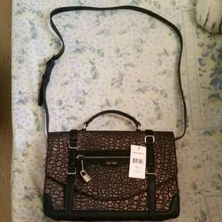 Ninewest Metallic bronze And Black Lock Up Messager Bag
