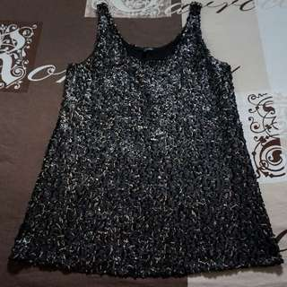 Ladakh Black and Champagne Gold Sequined Mini Dress/Tunic Size 14 RRP $69.95