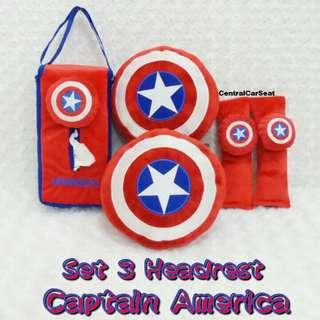 Bantal Mobil Set 3 Headrest Captain America