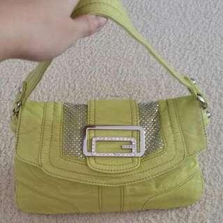 Guess Yellow Green Crystal And Studs Small Handbag