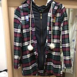 格紋假兩件外套