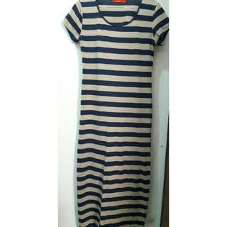 Striped Long T-shirt Dress by Connexion