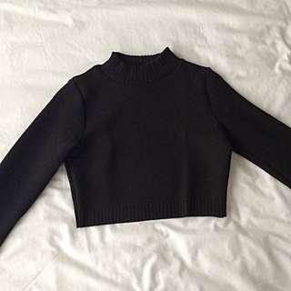 Missguided Dharma Ribbed Turtleneck Long Sleeve Crop Top Black