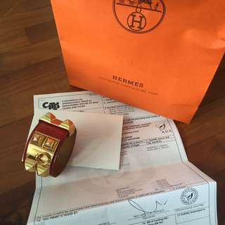 Authentic Hermes Red Croc Cdc Ghw