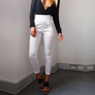 Tiger Mist White High Wasted Pants