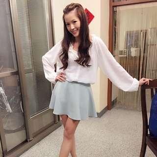Tiffany 綠 高腰A字裙