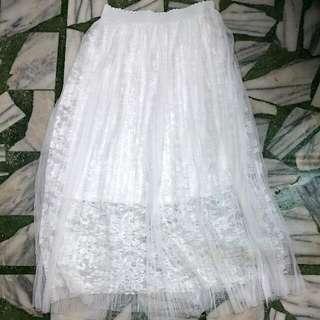 純白紗裙小百褶三層有內裡(賣場兩件免運)